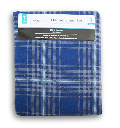 Blue Plaid Print Flannel Sheet Set - - Beds Wal Mart Twin