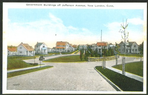 Government Buildings Jefferson Av New London CT postcard 1910s from The Jumping Frog