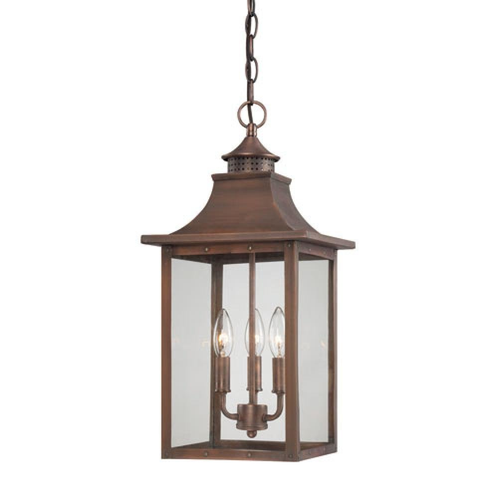 St. Charles Collection Hanging Lantern 3-Light Outdoor Aged Brass Light Fixture Model-8316AB
