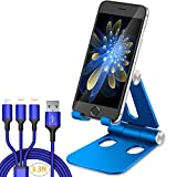 Miger Adjustable Foldable Cell Phone Stand, iPhone Stand,Cradle, Dock,Holder,Tablet Video Game Holder Dock for Switch, iPhone 7 8 X 6 6s Plus 5 5s 5c Charging, iPad and Tablets (Blue)