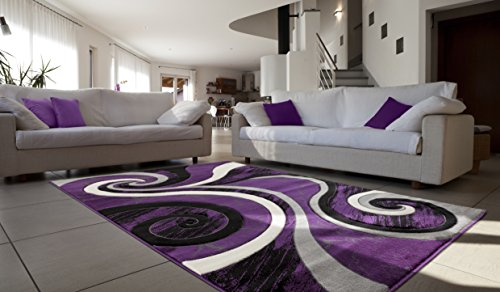 All New Contemporary Carved Modern Geometric with Swirl Design Area Rug Legacy Collection by Rug Deal Plus (7'11'' x 10'7'', Purple/Black) by Rug Deal Plus