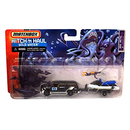 Matchbox Year 2006 Hitch 'N Haul Series 1:64 Scale Die Cast Metal Car Set - WILD WATER J4686 with Chevy Suburban, Jet Ski, Scuba Diver, Giant Squid and Shark