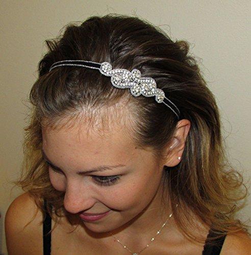 CHELSEA - SL - Regalia Beaded Rhinestone Stretch No Slip Headband (Hair Jewelry)