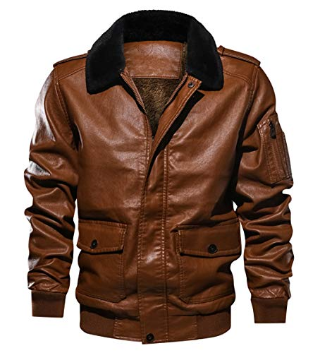 Itemnew Men Sportswear Full Zip Sherpa Lined Air-Force Faux Leather Bomber Jacket (Medium, ()