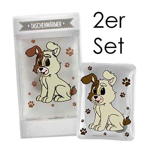 2er Pack Taschenwärmer süßer Hund - Wichtelgeschenk - Handwärmer - Taschenheizkissen