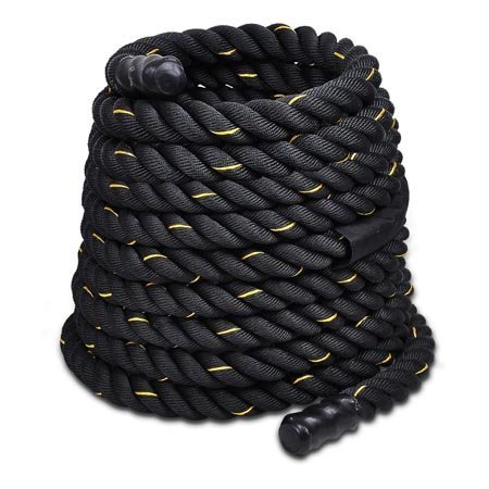 Cheap ZENY Black 1 1/2″ Dia. x 30Ft Poly Dacron Undulation Battling Workout Rope w/Center Friction Guard 600D Oxford Velcro Sleeve, Strength Training Fitness Exercise Gym