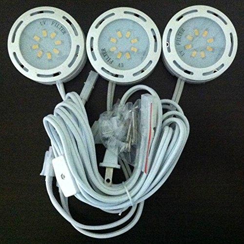 Recessed Housing Lighting Miniature - LEDP3120WH - 120V Direct LED Puck 3 Light Kit-White
