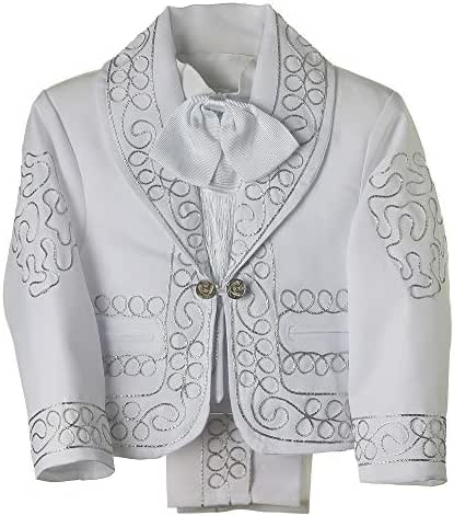 Details and Traditions Boys Charro, Boys Baptism, Mexican Charro, Baptism Outfit, Mens Charro (White/Silver)