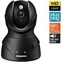 PANNOVO 1080P Wireless Wifi IP Security Camera-Home Video Monitoring Surveillance Camera with Night Vision,Pan/Tilt