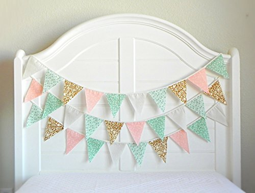 Fabric Bunting Garland by A Fête Beckons / Shabby Chic Garland Backdrop Mint and Pink Nursery Decor Vintage Floral Tea Party Birthday Banner 100% Handmade 9 Feet