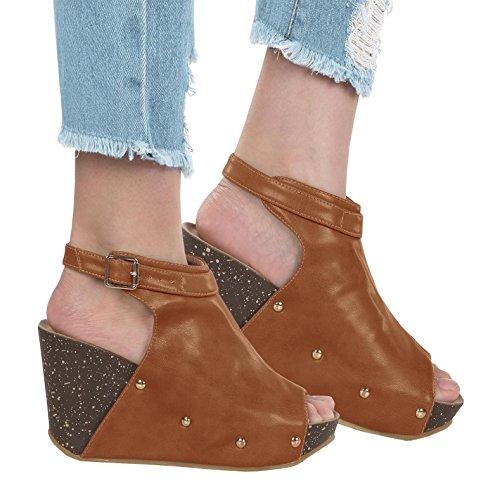 Brown Slingbacks Shoes (Syktkmx Womens Slingback Cork Platform Wedges Peep Toe Ankle Wrap Rivet Heeled Sandals)