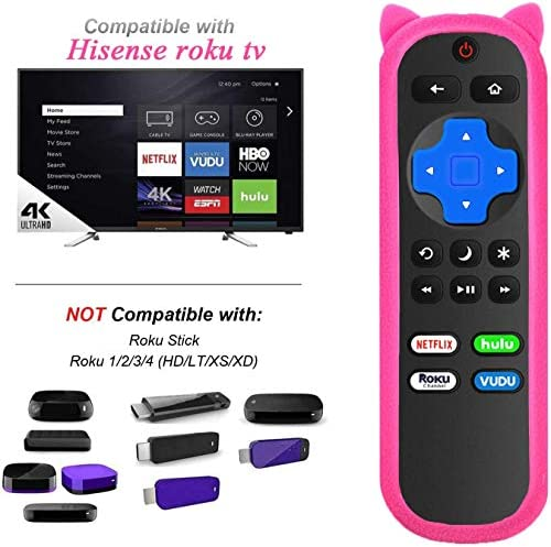 HU-RCRIS-21G Replace Remote Compatible with All Hisense Roku TV, Universal for Hisense Smart Built-in Roku TV Remote Control with Luminous Protective Case