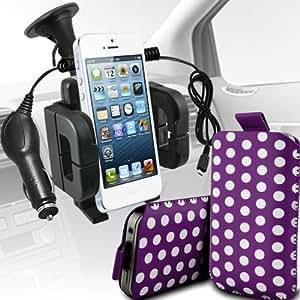 LG Google Nexus 5 Protección Premium Polka PU ficha de extracción Slip espinal en bolsa de la cubierta de piel de bolsillo rápido con 12v USB Micro Cargador para el coche y soporte universal de la succión del parabrisas del coche Vent Cuna púrpura y blanca por Spyrox