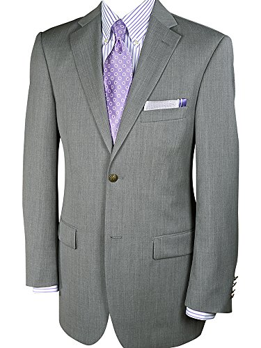 Paul Fredrick Men's 100% Wool Two-Button Travel Blazer Pearl Grey 44 Extra-long by Paul Fredrick