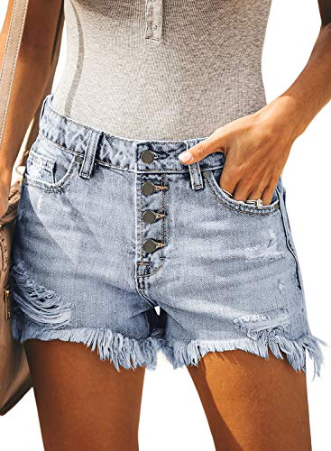 BLENCOT Women's Ladies Ripped Button Down Mid Rise Jean Shorts Frayed Raw Hem Fashion Distressed Denim Shorts Light Blue 33 34 -