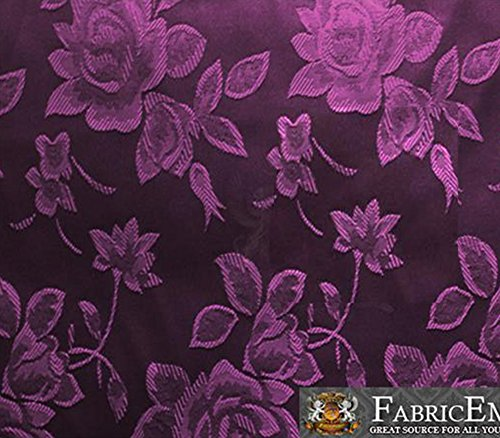 "Satin Floral Jacquard Fabric 58"" Wide Sold By The Yard (VIOLET)"