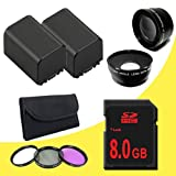 TWO BP-819 Lithium Ion Replacement Battery + 8GB SDHC Class 10 Memory Card + 58mm 3 Piece Filter Kit + 58mm Wide Angle Lens + 58mm 2x Telephoto Lens for Canon Vixia HFG10 XA10 HFS10 HFS20 HFS21 HFS30 HFS100 HFS200 Digital Camcorder DavisMAX BP819 Accessory Bundle