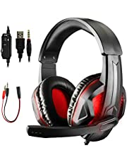 Diswoe Gaming Headset for PS4 Xbox One PC, 3.5mm LED Gaming Headphones with 7.1 Stereo Surround Sound, Noise Cancelling Mic, PS4 Headset with Mute&Volume Control for Mac, Laptop, Nintendo Switch Games