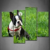 First Wall Art - Boston Terrier Sit Grassland Near A Flower Wall Art Painting Pictures Print On Canvas Animal The Picture For Home Modern Decoration
