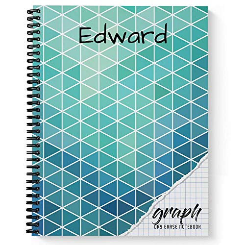 Graph Personalized Reusable Dry-Erase Spiral Notebook, 12 Sheets/24 Pages, durable laminated soft cover and interior pages, and wire-o spiral, 8.5x11, Made in the USA