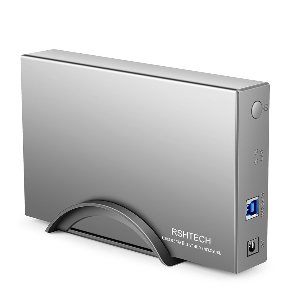 RSHTECH Hard Drive Enclosure USB 3.0 Hard Drive Docking Station External Aluminum Case for 3.5 inch SATA I/II/III /HDD or SSD Support UASP & 8TB Drives (Silver)