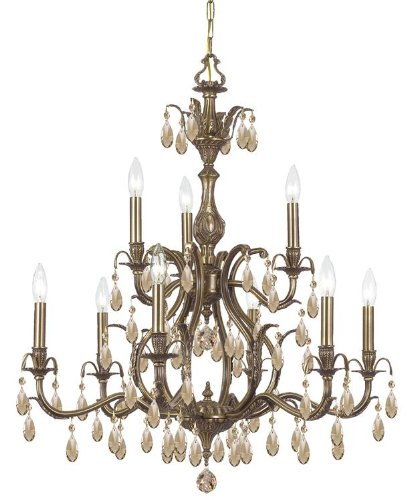 5569-AB-GT-MWP Dawson 9LT 2-Tier Chandelier, Antique Brass Finish with Golden Teak Hand Cut ()