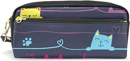 Lindo estuche escolar con diseño de gatos en el alambre para niños, de gran capacidad, bolsa de maquillaje, cosméticos para oficina, viaje: Amazon.es: Oficina y papelería