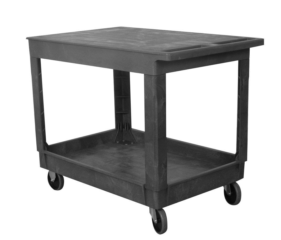 Wesco Industrial Products 270493 Plastic Flat-Top Standard Service Cart, 2 Trays, 500-lb. Load Capacity, 40.25'' L x 25.5'' W x 32.5 H