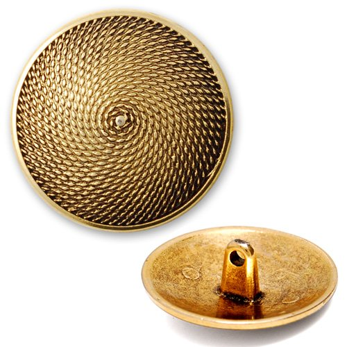 Button 15mm (5/8'') Metal Textured Pattern with Shank by 2pcs, Gold, SAN-2275Z -
