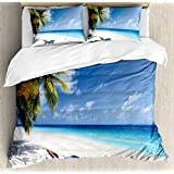Ambesonne Seaside Duvet Cover Set Queen Size, Tropical Beach Chair Sand Palm Trees Sunny Summer Exotic Travel Theme, Decorative 3 Piece Bedding Set with 2 Pillow Shams, Blue Green and Ivory