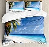 Ambesonne Seaside Duvet Cover Set Queen Size by, Tropical Beach Chair Sand Palm Trees Sunny Summer Exotic Travel Theme, Decorative 3 Piece Bedding Set with 2 Pillow Shams, Blue Green and Ivory