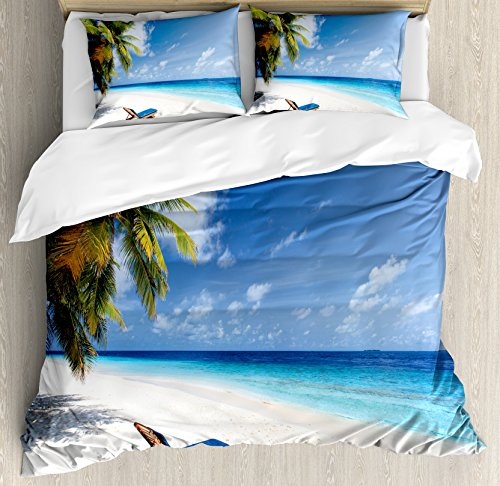 (Ambesonne Seaside Duvet Cover Set Queen Size, Tropical Beach Chair Sand Palm Trees Sunny Summer Exotic Travel Theme, Decorative 3 Piece Bedding Set with 2 Pillow Shams, Blue Green and Ivory)