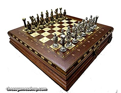Luxury Chess set - Antique Walnut board in mosaic art with Bzyantin Chess pieces - Gift Item