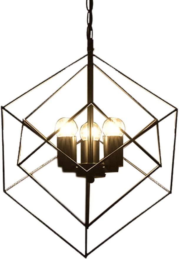 E27 Bulbs not Included Cube Ceiling Light Holder Retro Industrial Black Metal Basket Cage Loft Pendant Lamp Shade
