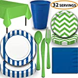 Disposable Tableware, 32 Sets - Royal Blue and Lime Green - Striped Dinner Plates, Chevron Dessert Plates, Cups, Lunch Napkins, Cutlery, and Tablecloths: Premium Quality Party Supplies Set