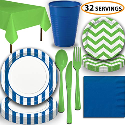 Disposable Tableware, 32 Sets - Royal Blue and Lime Green - Striped Dinner Plates, Chevron Dessert Plates, Cups, Lunch Napkins, Cutlery, and Tablecloths: Premium Quality Party Supplies Set]()