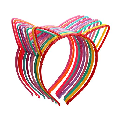 Candygirl Girl's Plastic Headbands Tiara Bunny Cat Bow Hairbands (10pcs Mix Colors Cat Ear Headbands) ()