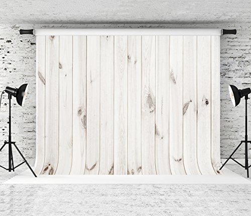 Kate 8x8ft White Wood Backdrops for Photography Retro Wooden Background Studio Photo Props ()