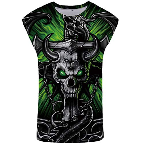 GREFER T-Shirts for Men Graphic Skull - Personality 3D Printed Sleeveless Vest - Summer Plus Size Tank Tops Shirts Green