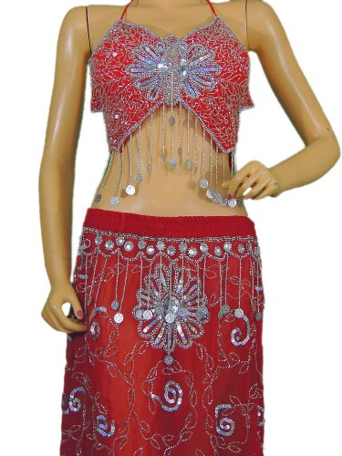 Red Belly Dance Attire Fancy Costume Top Beaded Bra Coin Long Skirt Clothing S by NovaHaat