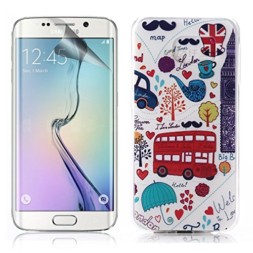 Galaxy S6 Case,UZZO Slim fit Ultra Thin TPU Gel Case Cover For Samsung Galaxy S6,Scratch Resistant Soft Silicone Protective Skin Cover For Galaxy S6 Case Bumper Soft Rubber Skin Case Cover With LCD Film Screen Protector & Free Keyring For Samsung Galaxy S6 SM-G920 (2015 Release)-London Buses And London Big Ben