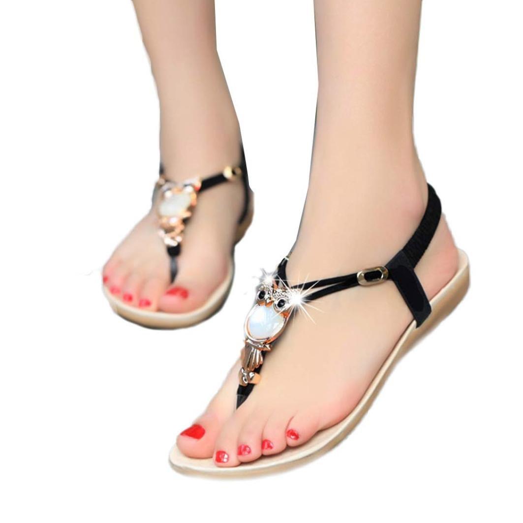 Han Shi Fashion Sandals, Women Rhinestone Clip Toe Beach Shoes Boho Flip Flops (Black, 5.5)