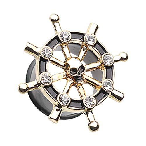 - Golden Pirate Ship Anchor Wheel Ear Gauge WildKlass Plug (7/8