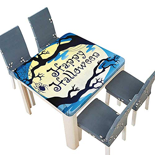 PINAFORE Fitted Polyester Tablecloth  Collection Happy Halloween Quote Spooky Night Moon Branches Shadows Haunted Lights YEL Washable Tablecloth 65 x 65 INCH (Elastic -