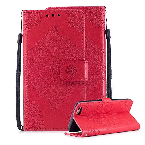 For iPhone 6 Plus/6S Plus Leather Wallet Case, Aearl 3D Porcelain Embossed Design ID Credit Card Holder Pocket Phone Case Magnetic Kickstand TPU Bumper with Hand Strap for iPhone 6S Plus/6 Plus - Red
