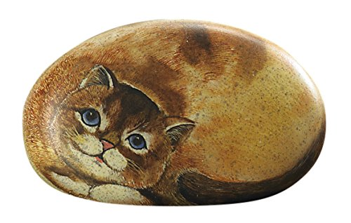 Desk Accessory - Office Desk Paperweight, Small Tabby Cat Rock Paper Weight (Small Paperweight)