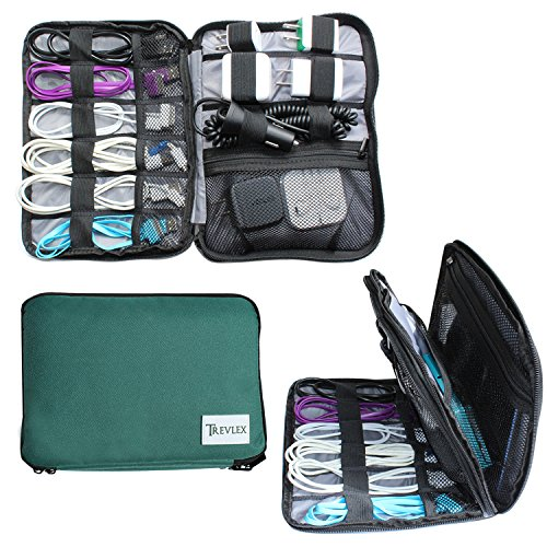 Trevlex Electronics Travel Cable Organizer Accessory Storage Bag for Tech Gear, Gadgets, Cords, Chargers, and Tablets