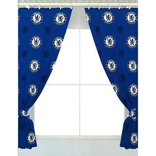 Chelsea FC 66 x 72 Drop Polycotton Curtains Ready Made by Chelsea F.C.