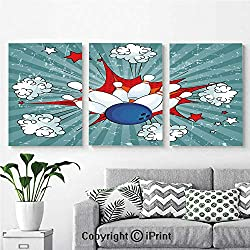 Canvas Prints Modern Art Framed Wall Mural Retro Comic Cartoon Style Ball Crash Pop Art Blast Stars Aiming for Home Decor 3 Panels,Wall Decorations for Living Room Bedroom Dining Room Bathroom Offic