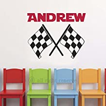 "Crossed Racing Flags Wall Decals Personalized Name Vinyl Wall Decal Checkered Flag Wall Decor For Boys Room Teens Room (14"" h x 17.5"" w PLUS FREE WELCOME DOOR DECAL)"